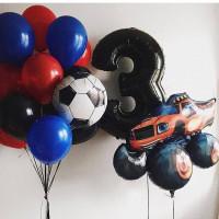 Набор воздушных шаров на День Рождения Вспыш с цифрой