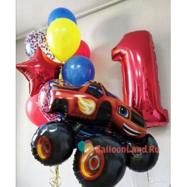 Композиция из шариков с гелием на один годик с мультперсонажем Вспышем и цифрой