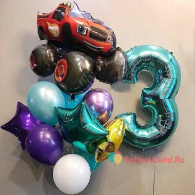 Композиция из шариков с гелием мальчику на День Рождения с цифрой, звездами и Вспышем