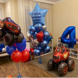 Композиция из шариков с ходячим Вспышем на четыре годика сыночку