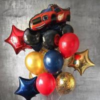 Букет из шаров с героем мультфильма Вспыш и Чудо-машинки, со звездами и шарами с конфетти