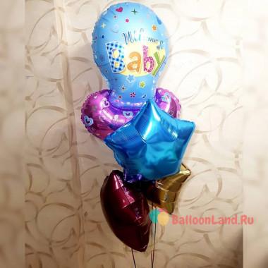Букет шаров на выписку из роддома малыша с соской