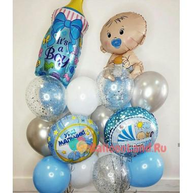 Композиция из гелевых шаров на выписку с бутылочкой и фигурой малыша