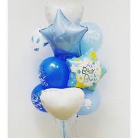 Букет из шаров на выписку мальчика со звездами и сердцами