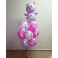 Букет из шаров на выписку дочки с медвежонком