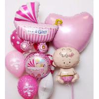 Композиция из шаров на выписку новорожденной с коляской и большим сердцем