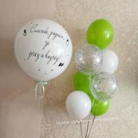 Композиция из шариков на выписку девочки с поздравлениями от родственников