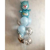 Фонтан из воздушных шариков на выписку сына с медвежонком, сердцем и звездой