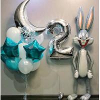 Сет шаров на День Рождения с зайцем и цифрой