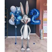 Сет воздушных шаров на День Рождения с с зайцем и цифрой