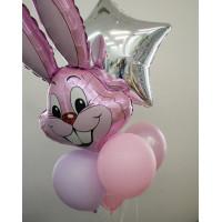Букет воздушных шаров с розовым зайцем