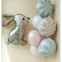 Сет шаров с Зайкой в пастельных тонах