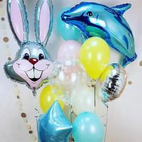 Сет воздушных шаров с зайцем и дельфином