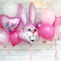 Сет гелиевых шаров с зайцем в розовой гамме