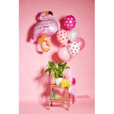 Композиция из гелиевых шаров фламинго для девушки