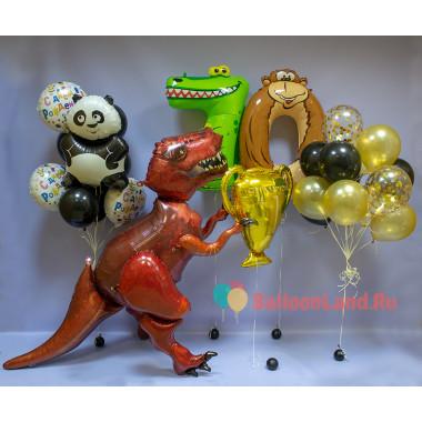 Композиция из воздушных шаров Чемпиону с ходячим Динозавром на День Рождения