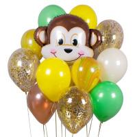 Сет из воздушных шаров с обезьяной , шарами агат и с конфетти
