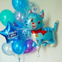 Набор шариков с котенком и звездой с вашими пожеланиями