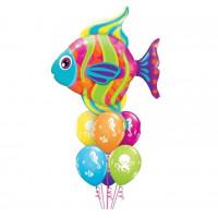 Фонтан из шаров с тропической рыбкой