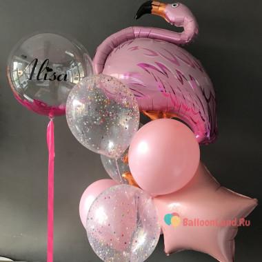 Композиция из гелевых шаров с фламинго и шаром с перьями