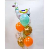 Фонтан из шариков с гелием яркий с Ламой