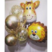 Композиция из шаров со львом и жирафом