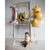 Композиция из гелевых шариков на годовасие с Пчелкой