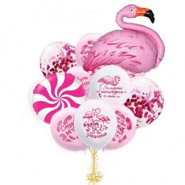 Букет из воздушных шариков Розовый, с фламинго и пожеланиями