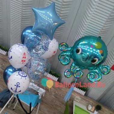 Композиция из воздушных шаров с Осьминогом и звездой