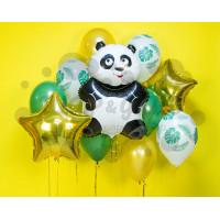 Сет из шариков панда со звездами и тропическими листьями