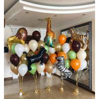 Композиция из шаров из фонтанов с животными : Жирафом, Львом, Зеброй, Пантерой и Тигром