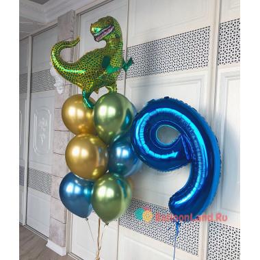 Композиция из шариков на День Рождения с цифрой и тираннозавром