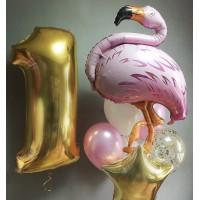 Композиция из шаров на день рождения с цифрой и фламинго