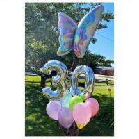 Букет шариков с бабочкой и цифрами на День Рождения
