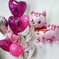 Композиция из воздушных шаров в розовых тонах с кошечкой