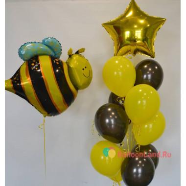 Композиция из гелиевых шаров Пчелка с букетом шаров со звездой