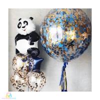Композиция из шариков с гелием Панда с конфетти