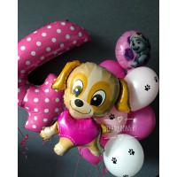 Набор гелиевых шариков со щенком для девочки в розовых тонах