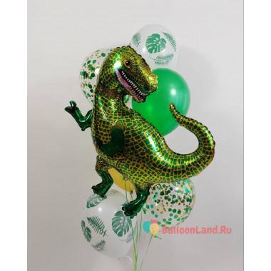 Букет гелевых шариков Тираннозавр в тропиках