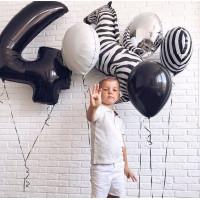 Композиция из шариков черно-белая с Зеброй на День Рождения