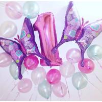 Сет из шаров с гелием на годовасие с двумя Бабочками