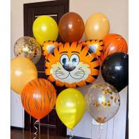 Сет из шаров с гелием Тигр в джунглях