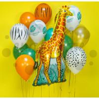 Сет из шаров с гелием Жираф в джунглях