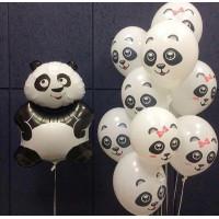 Композиция из шаров с гелием с фигурой Панды