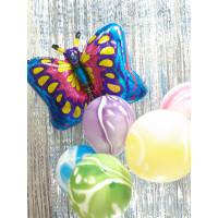 Букет шариков с бабочкой и шарами агат