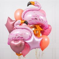 Набор шаров с фламинго, сердцами и звездами