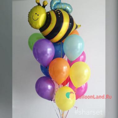 Букет из шариков с гелием разноцветных с Пчелкой