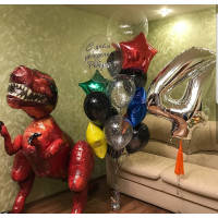 Композиция из воздушных шаров с Ходячим Динозавром, цифрой, шаром с перьями и вашими поздравлениями