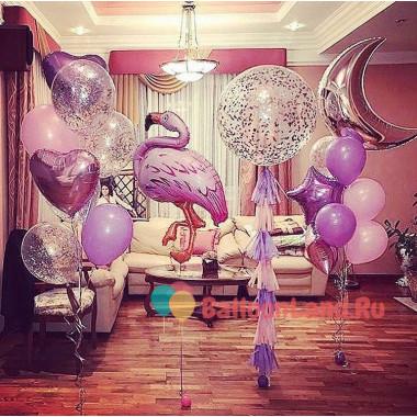 Композиция из гелевых шариков с фламинго и месяцем
