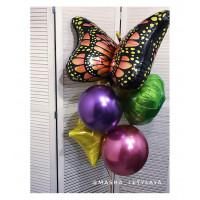 Букет шаров с гелием с Бабочкой Монарх
